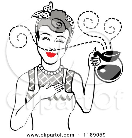 Clipart of a Gray Haired Waitress or Housewife Smelling the Aroma of Fresh Hot Coffee in a Pot - Royalty Free Vector Illustration by Andy Nortnik