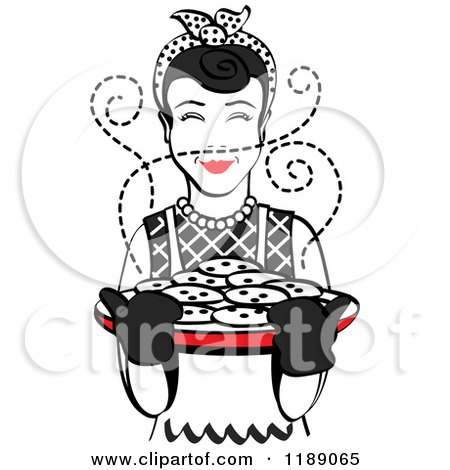 Clipart of a Retro Happy Black Haired Housewife Holding Freshly Baked Cookies - Royalty Free Vector Illustration by Andy Nortnik