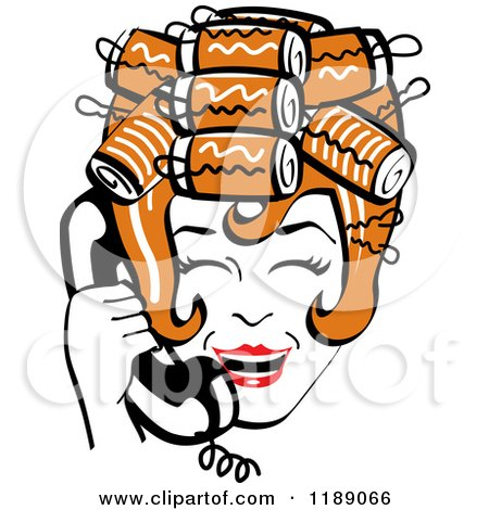 Clipart of a Happy Retro Redhead Housewife with Her Hair up in Curlers, Laughing While Talking on a Landline Telephone - Royalty Free Vector Illustration by Andy Nortnik
