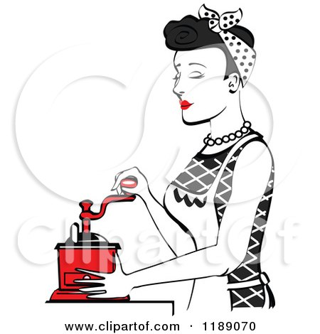 Clipart of a Retro Happy Black Haired Housewife Using a Manual Coffee Grinder in Profile - Royalty Free Vector Illustration by Andy Nortnik