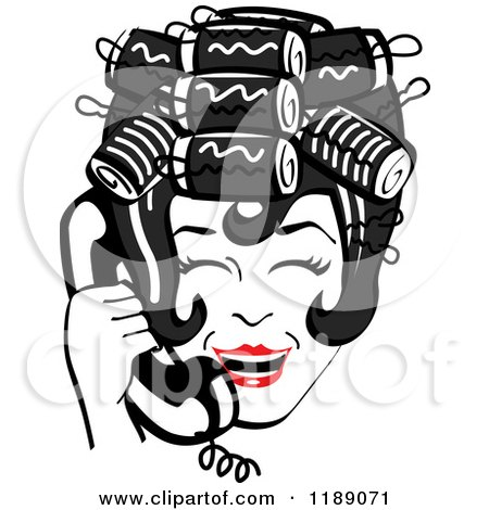 Clipart of a Happy Retro Black Haired Housewife with Her Hair up in Curlers, Laughing While Talking on a Landline Telephone - Royalty Free Vector Illustration by Andy Nortnik