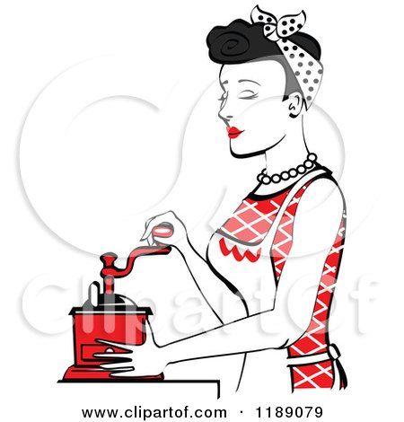 Clipart of a Retro Happy Black Haired Housewife Using a Manual Coffee Grinder in Profile 2 - Royalty Free Vector Illustration by Andy Nortnik