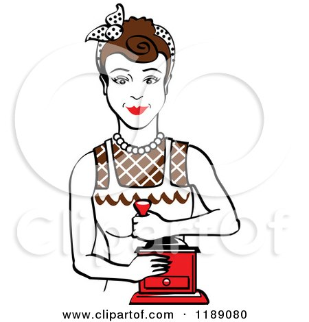 Clipart of a Retro Happy Brunette Housewife Using a Manual Coffee Grinder - Royalty Free Vector Illustration by Andy Nortnik