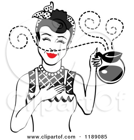 Clipart of a Black Haired Waitress or Housewife Smelling the Aroma of Fresh Hot Coffee in a Pot 2 - Royalty Free Vector Illustration by Andy Nortnik