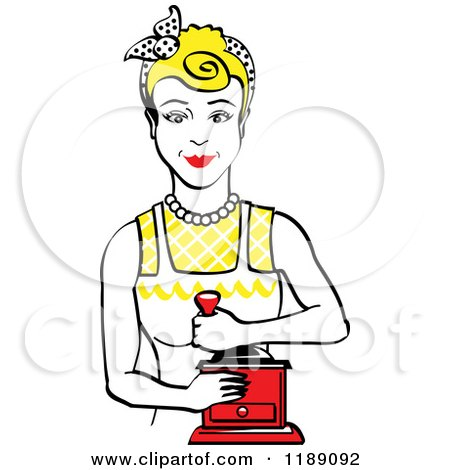 Clipart of a Retro Happy Blond Housewife Using a Manual Coffee Grinder 2 - Royalty Free Vector Illustration by Andy Nortnik