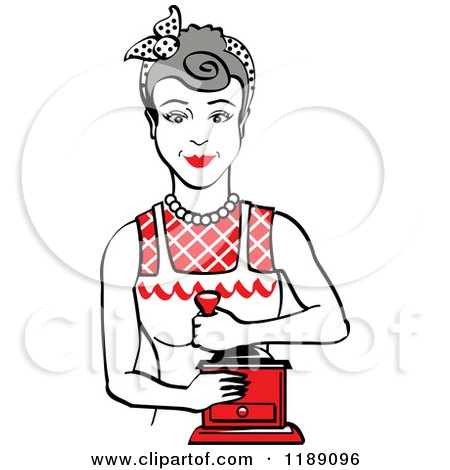 Clipart of a Retro Happy Gray Haired Housewife Using a Manual Coffee Grinder 2 - Royalty Free Vector Illustration by Andy Nortnik