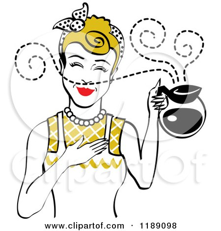 Clipart of a Dirty Blond Waitress or Housewife Smelling the Aroma of Fresh Hot Coffee in a Pot - Royalty Free Vector Illustration by Andy Nortnik