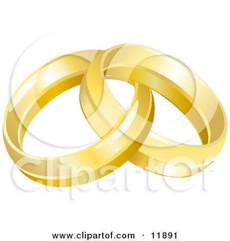 Two Entwined Golden Wedding Rings Clipart Picture by AtStockIllustration