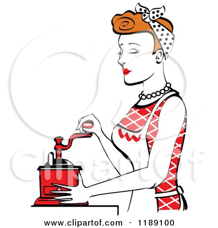 Clipart of a Retro Happy Red Haired Housewife Using a Manual Coffee Grinder in Profile 2 - Royalty Free Vector Illustration by Andy Nortnik