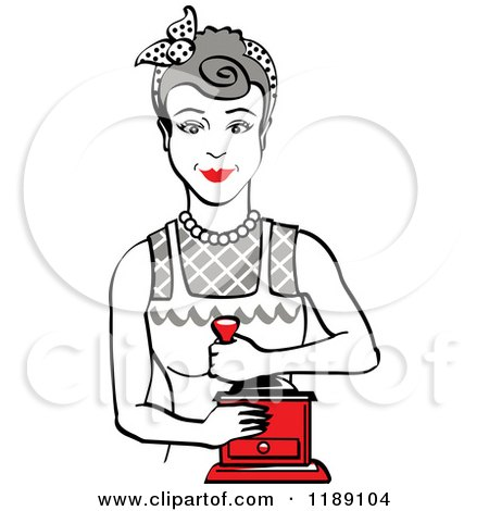 Clipart of a Retro Happy Gray Haired Housewife Using a Manual Coffee Grinder - Royalty Free Vector Illustration by Andy Nortnik