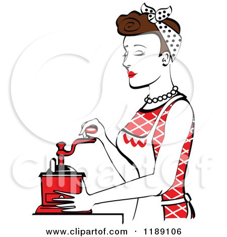 Clipart of a Retro Happy Brunette Housewife Using a Manual Coffee Grinder in Profile 2 - Royalty Free Vector Illustration by Andy Nortnik