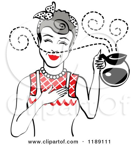 Clipart of a Gray Haired Waitress or Housewife Smelling the Aroma of Fresh Hot Coffee in a Pot 2 - Royalty Free Vector Illustration by Andy Nortnik