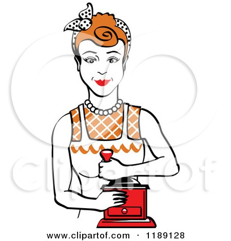 Clipart of a Retro Happy Red Haired Housewife Using a Manual Coffee Grinder - Royalty Free Vector Illustration by Andy Nortnik
