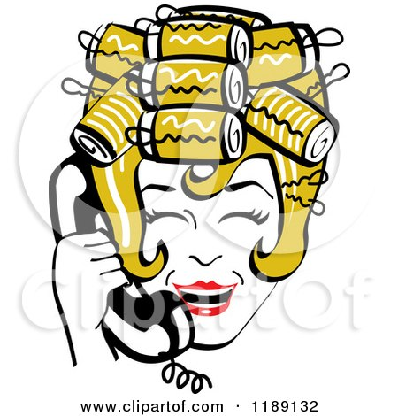 Clipart of a Happy Retro Dirty Blond Housewife with Her Hair up in Curlers, Laughing While Talking on a Landline Telephone - Royalty Free Vector Illustration by Andy Nortnik
