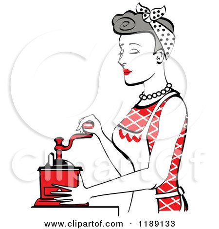 Clipart of a Retro Happy Gray Haired Housewife Using a Manual Coffee Grinder in Profile 2 - Royalty Free Vector Illustration by Andy Nortnik