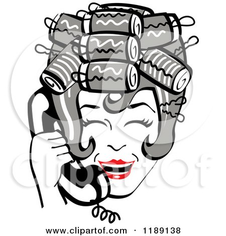 Clipart of a Happy Retro Gray Haired Housewife with Her Hair up in Curlers, Laughing While Talking on a Landline Telephone - Royalty Free Vector Illustration by Andy Nortnik
