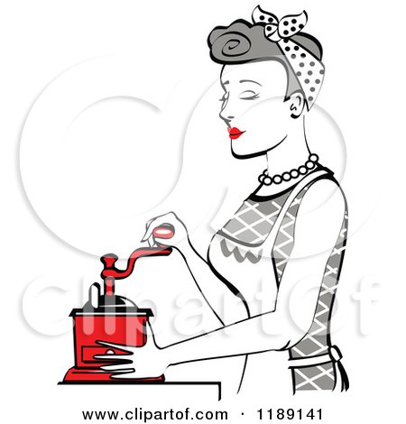 Clipart of a Retro Happy Gray Haired Housewife Using a Manual Coffee Grinder in Profile - Royalty Free Vector Illustration by Andy Nortnik