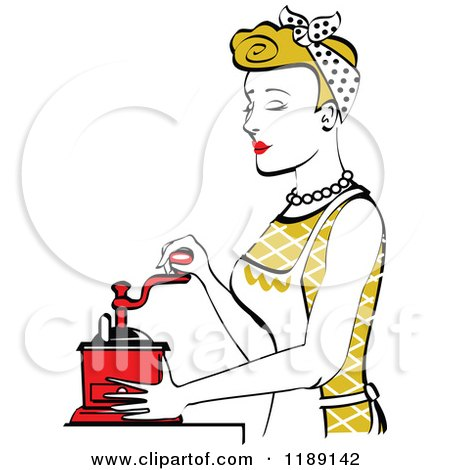 Clipart of a Retro Happy Dirty Blond Housewife Using a Manual Coffee Grinder in Profile 2 - Royalty Free Vector Illustration by Andy Nortnik