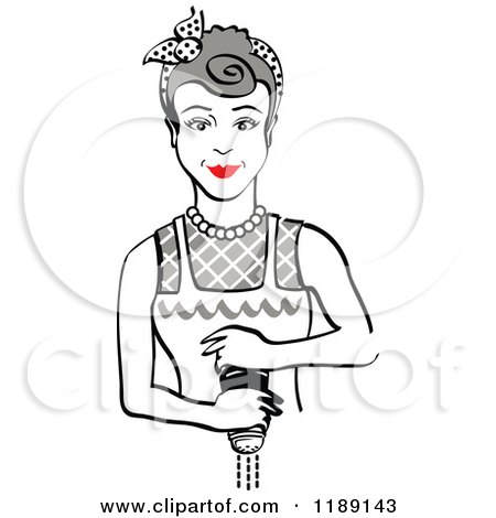 Clipart of a Retro Gray Haired Housewife or Maid Woman Grinding Fresh Pepper - Royalty Free Vector Illustration by Andy Nortnik