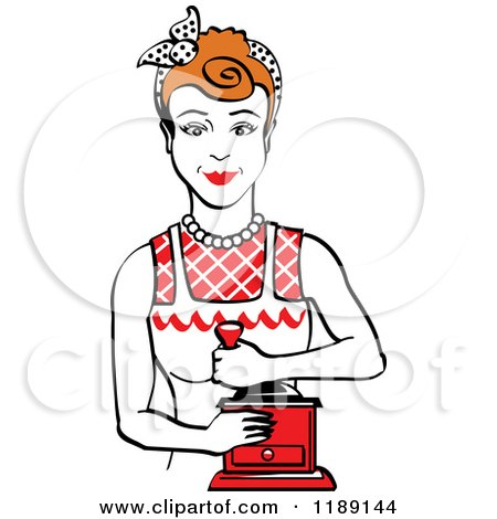 Clipart of a Retro Happy Red Haired Housewife Using a Manual Coffee Grinder 2 - Royalty Free Vector Illustration by Andy Nortnik