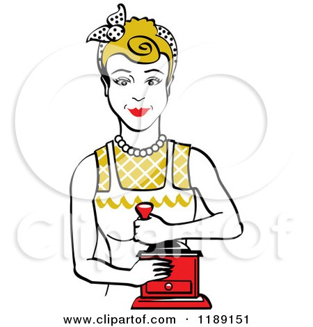 Clipart of a Retro Happy Dirty Blond Housewife Using a Manual Coffee Grinder - Royalty Free Vector Illustration by Andy Nortnik