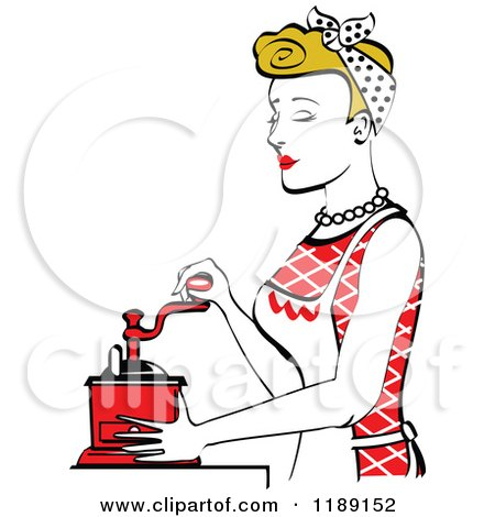 Clipart of a Retro Happy Dirty Blond Housewife Using a Manual Coffee Grinder in Profile - Royalty Free Vector Illustration by Andy Nortnik