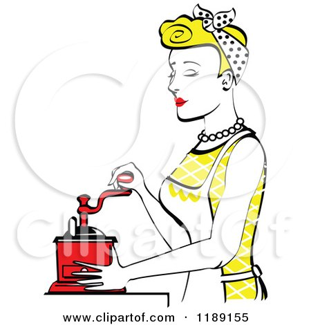 Clipart of a Retro Happy Blond Housewife Using a Manual Coffee Grinder in Profile - Royalty Free Vector Illustration by Andy Nortnik