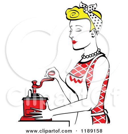 Clipart of a Retro Happy Blond Housewife Using a Manual Coffee Grinder in Profile 2 - Royalty Free Vector Illustration by Andy Nortnik