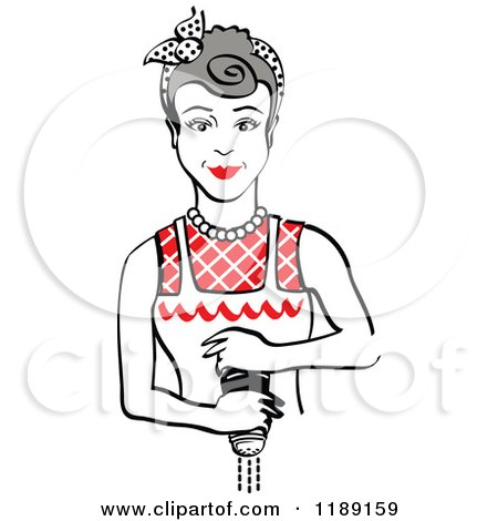 Clipart of a Retro Gray Haired Housewife or Maid Woman Grinding Fresh Pepper 2 - Royalty Free Vector Illustration by Andy Nortnik
