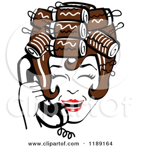 Clipart of a Happy Retro Brunette Housewife with Her Hair up in Curlers, Laughing While Talking on a Landline Telephone - Royalty Free Vector Illustration by Andy Nortnik