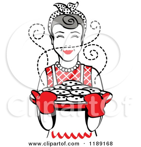 Clipart of a Retro Happy Gray Haired Housewife Holding Freshly Baked Cookies 2 - Royalty Free Vector Illustration by Andy Nortnik