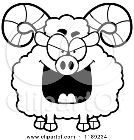 Cartoon of a Black and White Grinning Evil Ram Mascot - Royalty ...