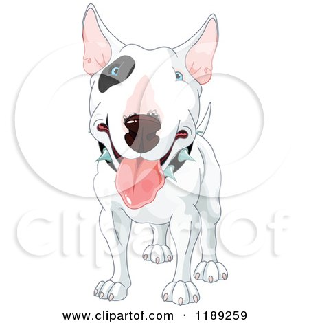 Cartoon of a Happy White Bull Terrier Dog with a Black Spot Around His Eye and a Spiked Collar - Royalty Free Vector Clipart by Pushkin
