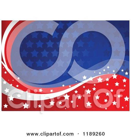 Clipart of a Patriotic American Red White and Blue Star Patterned and Wave Background - Royalty Free Vector Illustration by Pushkin