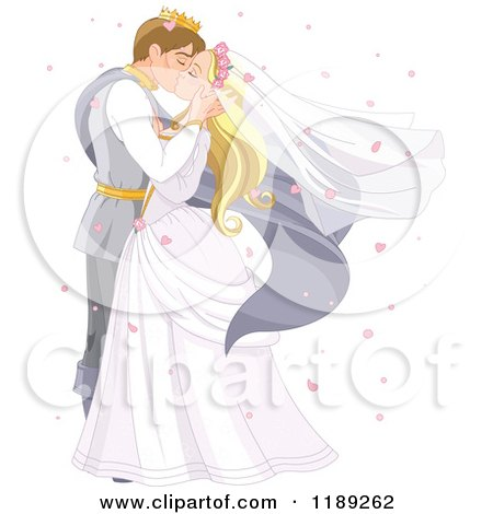 Fairy Tale Prince and Princess Wedding Couple Kissing, Surrounded by Heart Confetti Posters, Art Prints