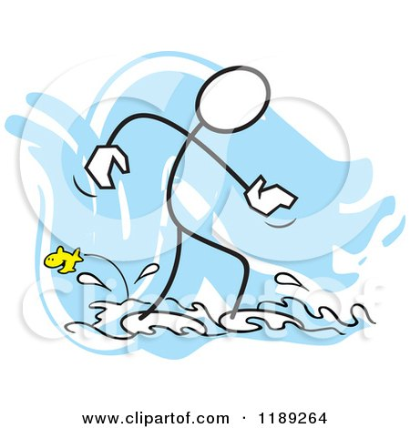 Cartoon of a Stickler Man Wading in Water and Watching a Fish, over Blue - Royalty Free Vector Clipart by Johnny Sajem