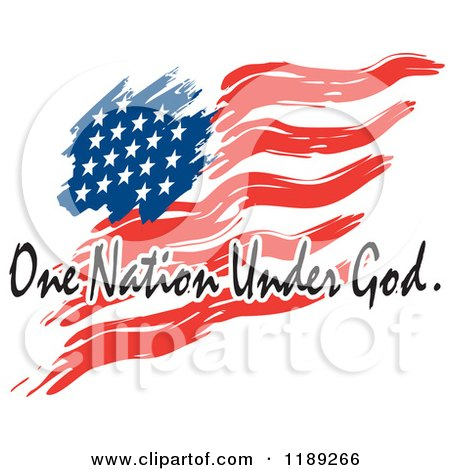 Cartoon Of A Wavy Painted American Flag With One Nation Under God Text Royalty Free Vector Clipart