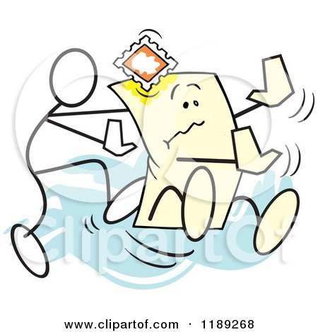 Cartoon of a Stickler Man Pushing the Envelope, over Blue - Royalty Free Vector Clipart by Johnny Sajem