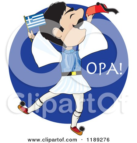 Cartoon of a Greek Evzone Dancer with a Greek Flag over a Blue Circle - Royalty Free Vector Clipart by Maria Bell