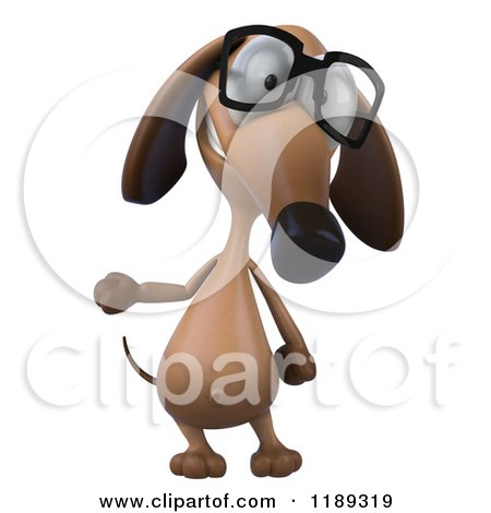Clipart of a 3d Dachshund Wearing Glasses and Presenting - Royalty Free CGI Illustration by Julos