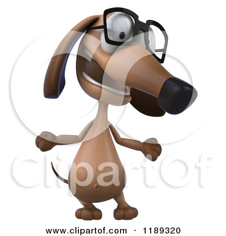 Clipart of a 3d Dachshund Wearing Glasses and Shrugging - Royalty Free CGI Illustration by Julos