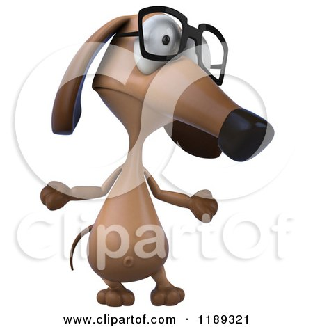 Clipart of a 3d Dachshund Wearing Glasses and Shrugging 2 - Royalty Free CGI Illustration by Julos