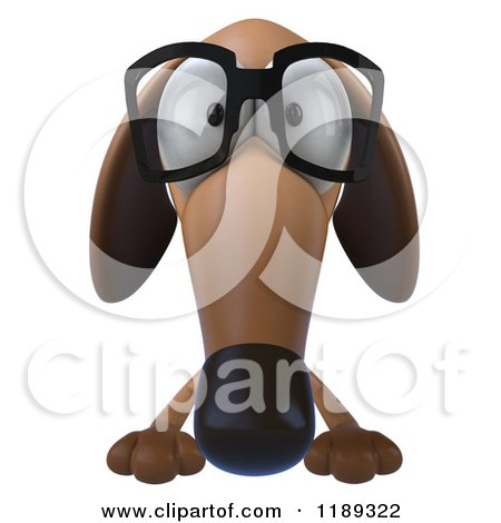 Clipart of a 3d Dachshund Wearing Glasses over a Sign - Royalty Free CGI Illustration by Julos