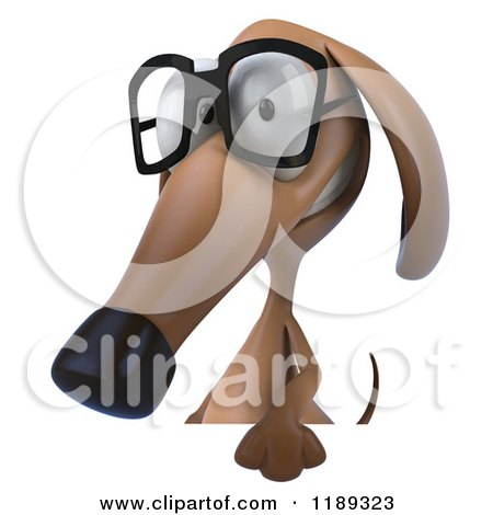 Clipart of a 3d Dachshund Wearing Glasses over a Sign 2 - Royalty Free CGI Illustration by Julos