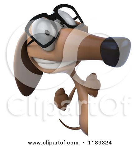 Clipart of a 3d Dachshund Wearing Glasses and Looking Around a Sign - Royalty Free CGI Illustration by Julos
