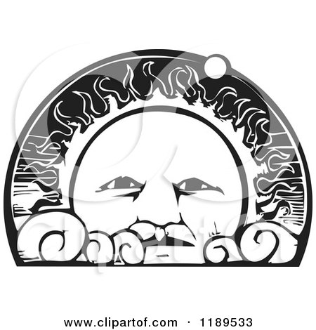 Clipart of a Sun Face with Clouds and Orbiting Planet Black and White Woodcut - Royalty Free Vector Illustration by xunantunich