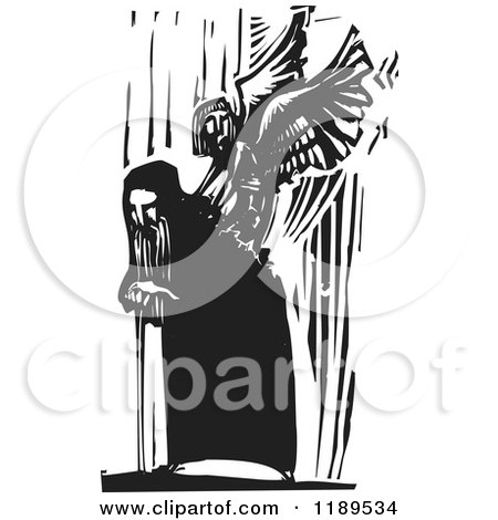 Bent over Old Man and Angel Emerging from His Back Black and White Woodcut Posters, Art Prints