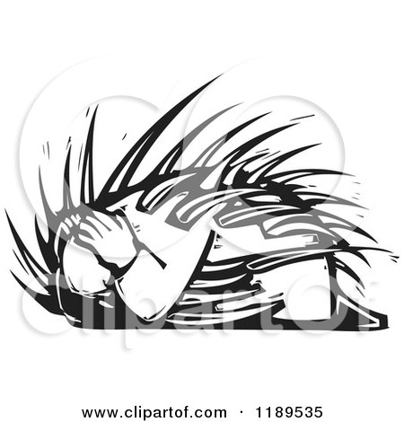 Clipart of a Cowardly Man Curled up with Spines Black and White Woodcut - Royalty Free Vector Illustration by xunantunich