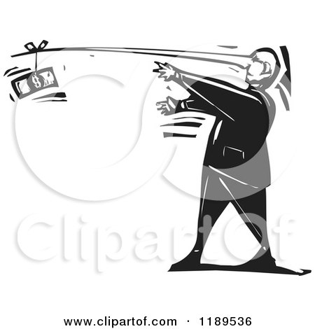 Clipart of a Lying Man Reaching for Cash at the End of His Long Nose Black and White Woodcut - Royalty Free Vector Illustration by xunantunich