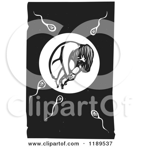 Clipart of a Girl in an Egg with Sperm at the Moment of Conception Black and White Woodcut - Royalty Free Vector Illustration by xunantunich